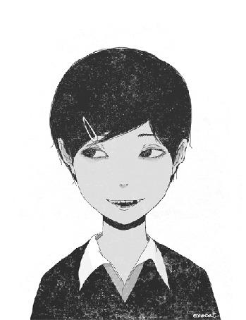 Анимация У улыбающейся коротко стриженной девочки с заколотой челкой отрывается голова и приставляется на место, by Omocat