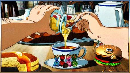 Анимация На столе с едой руки наливают мед в чашку чая, рядом стоит пирог со стекающей по нему карамелью и живой бургер, который машет рукой