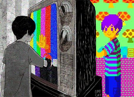 Анимация Мальчик просунул руку в телевизор, по другую сторону которого его пиксельная версия делает то же самое, by Omocat