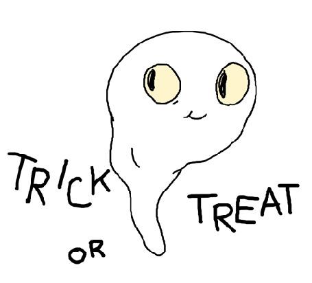 Анимация Привидение злобно улыбается (Trick or Treat / Сладость или гадость)
