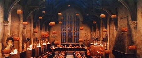 Анимация Ежегодное празднование Хеллоуина в Большом зале в Хогвартсе, фильм Harry Potter / Гарри Поттер