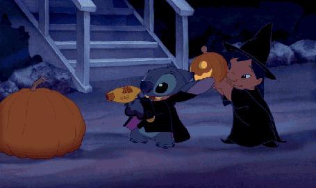 Анимация Лило и Стич создают из тыкв светильники Джека на Хэллоуин / Halloween, кадры из мультфильма Lilo & Stitch
