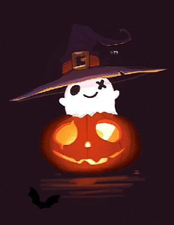 Анимация Милый призрак в ведьминской шляпе внутри праздничной тыквы, by CrayonBot