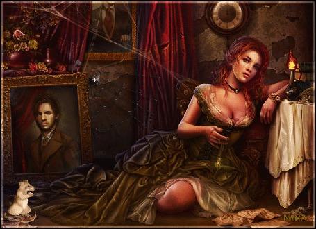 Анимация Девушка, сидя на полу в заросшей паутиной комнате, грустит по любимому, который смотрит на нее с портрета, при свечах, рядом ползает паук и что-то грызет мышь, by Mira