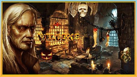 Анимация В замке пыток стоит Джек Потрошитель и приглашает на праздник хэллоуин (welcome)
