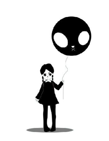 Анимация Уэнсди Аддамс / Wednesday Addams из фильма Addams Family / Семейка Аддамс с воздушным шаром на белом фоне