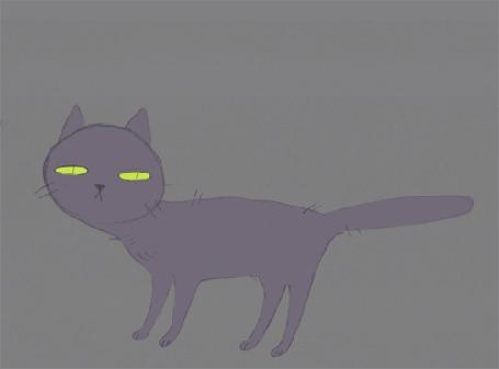 Анимация Кот с зеленым скелетом на сером фоне