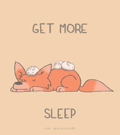 Анимация Лисичка и трое белых кроликов, удобно устроившиеся на ней, спят, by Lisa Vertudaches (GET MORE SLEEP)