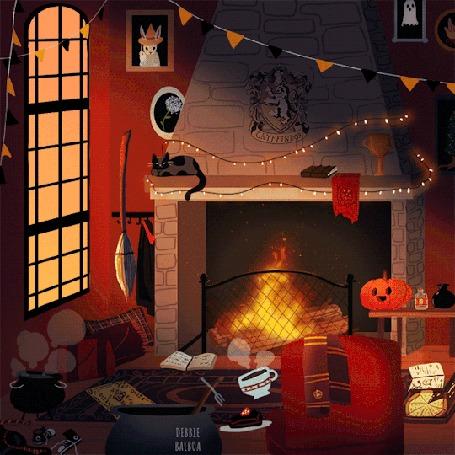 Анимация Комната с горящим камином в канун Хеллоуина, с флажками и гирляндой над ним, by DebbieBalboa
