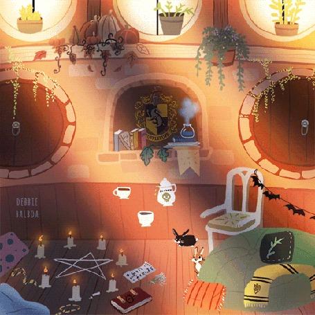 Анимация Комната с горящими свечами, кроликами на полу и летающими чашками и кофейником в канун Хеллоуина, by DebbieBalboa