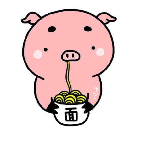 Анимация Розовый поросенок поглощает лапшу, работа Yoyo The Ricecorpse