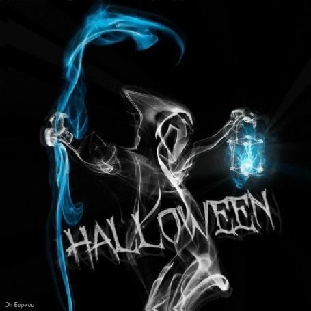 Анимация Привидение из дыма с косой и фонарем на черном фоне (HALLOWN / Хеллоуин)