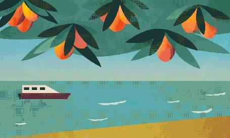 Анимация Падающие фрукты на фоне моря с кораблем, by LAUREN KOLM