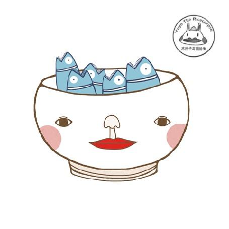 Анимация В чашку с изображением человеческого лица, полной рыбешек, впрыгивает опоздавшая рыбка, by Yoyo The Ricecorpse