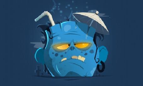 Анимация Мужская голова с зонтиком и трубочкой, из которой идет дым, by Oleg Erin
