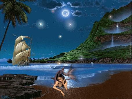 Анимация Русалка лежит на берегу на фоне морского ночного пейзажа