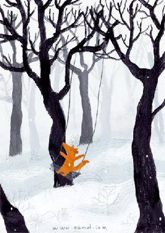 Анимация Лиса качается на качели под падающим снегом, by Oamul Lu