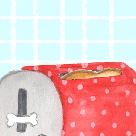 Анимация Милый песик-тост выпрыгивает из тостера