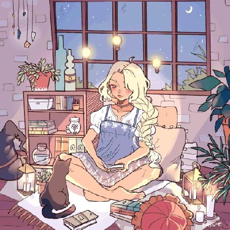 Анимация Девочка сидит перед кошкой