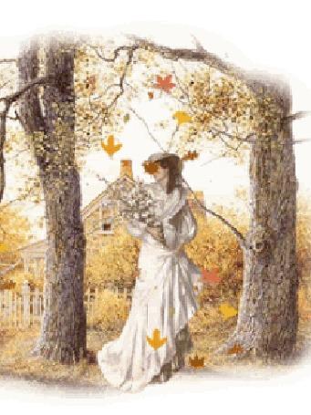 Анимация Дама с цветами под падающими осенними листьями, на фоне дома