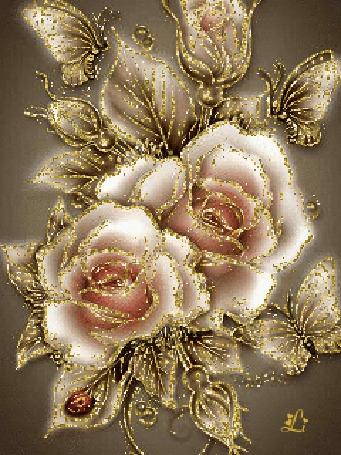 Анимация Пастельные розы в золотых блестках