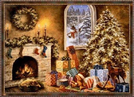 Анимация Рождественский интерьер в доме с елкой, подарками, камином, котиком. За окном снеговик возле елки