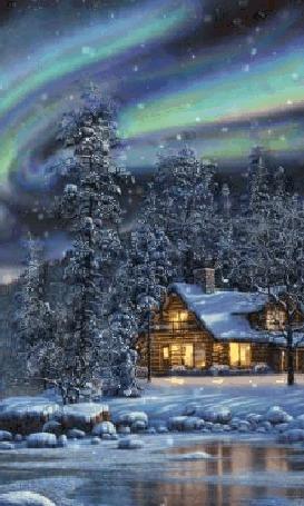 Анимация Северное сияние над лесом и домиком, идет снег, by Thomas Kinkade