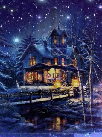 Анимация Дом ночью под снегом, возле реки и моста, by Thomas Kinkade