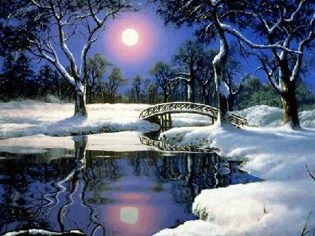 Анимация Солнце над речкой и мостом зимой, исходник от художника Anthony Casay