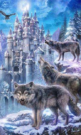 Анимация Волки воют возле замка зимой в горах