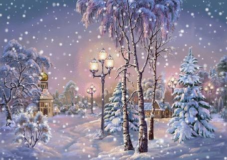 Анимация Снег идет над деревней с церковью зимой, исходник художник Виктор Цыганов