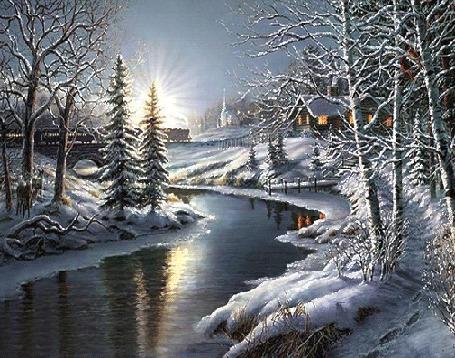 Анимация Речка в деревне зимой сверкает под солнцем, by Thomas Kinkade