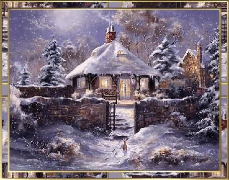 Анимация Снег идет над домами зимой в деревне