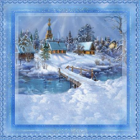 Анимация Солнце светит над деревней и церковью, на ветке сидит синичка by Thomas Kinkade
