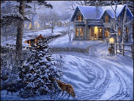 Анимация Снег идет над деревней вечером за елкой спряталась лиса, by Thomas Kinkade