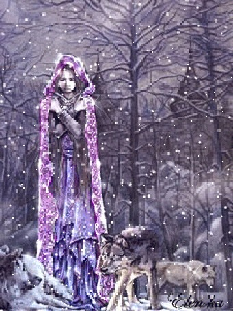 Анимация Девушка мерзнет под снегом в окружении волков, by Elenka