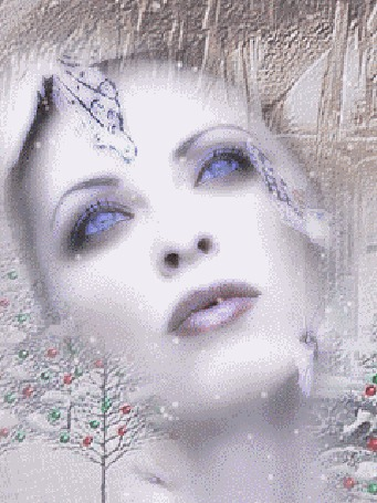 Анимация Лицо девушки с голубыми глазами во льдах зимы