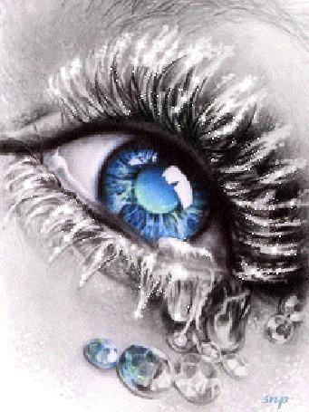 Анимация Голубой глаз с инеем на ресницах и застывшими слезами-бриллиантами