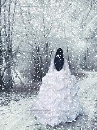 Анимация Девушка в белом платье бежит по зимней дороге
