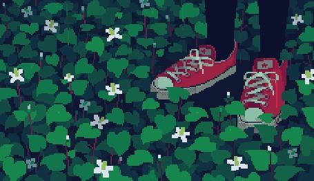 Анимация Ножки в красных кедах стоят под дождем на поляне с белыми цветочками