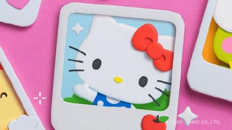 Анимация Кошечка Китти машет лапкой