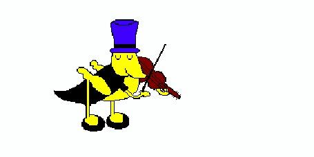 Анимация Кузнечик в цилиндре наигрывает на скрипке