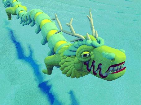 Анимация Зеленый водяной дракон, плавно изгибаясь, плывет под водой