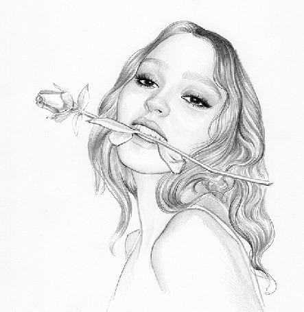 Анимация Девушка с розой во рту
