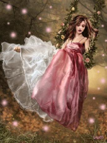 Анимация Девушка в розовом платье качается на цветочных качелях в саду