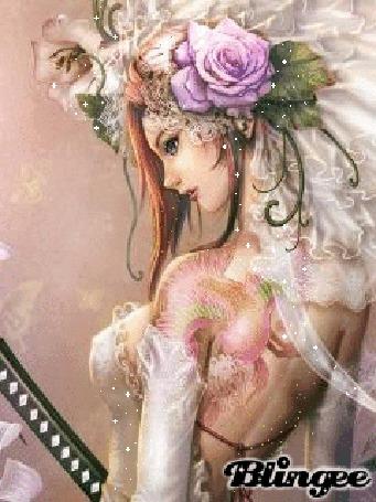 Анимация Девушка с розой в волосах, с татуировками и в фате