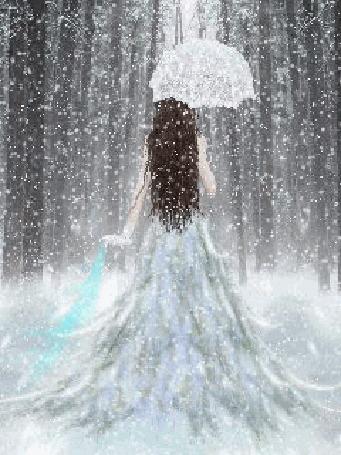 Анимация Девушка в белом платье с кружевным зонтиком под снегом в лесу