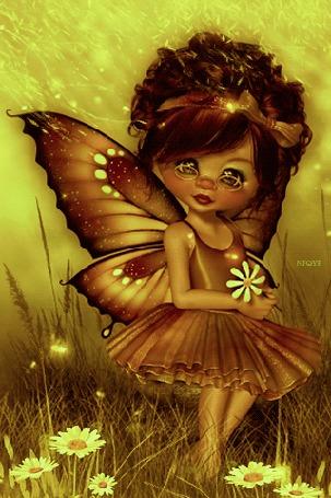 Анимация Девочка с крылышками бабочки, с ромашкой в руке, от NIQYF