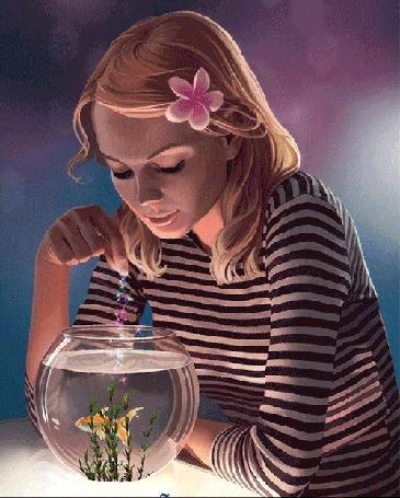 Анимация Девушка с цветом в волосах кормит рыбку в аквариуме