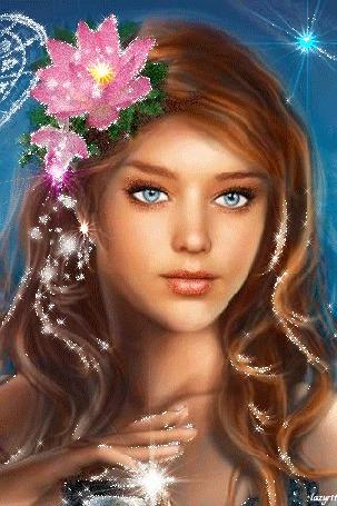Анимация Голубоглазая красавица с цветком в волосах (Lazyrit)